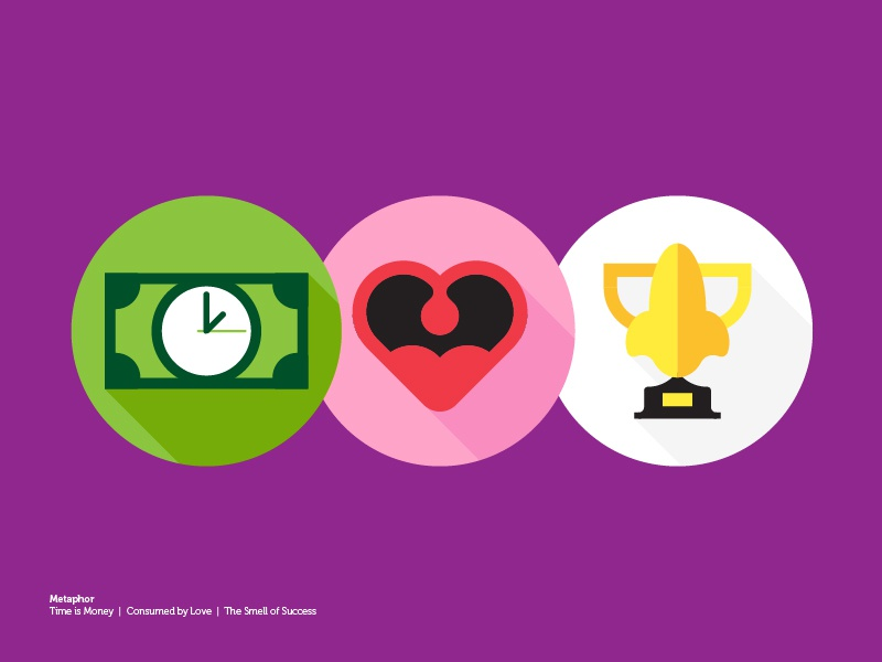 Making Up Metaphors long shadow time mouth trophy money heart flat metaphor illustration