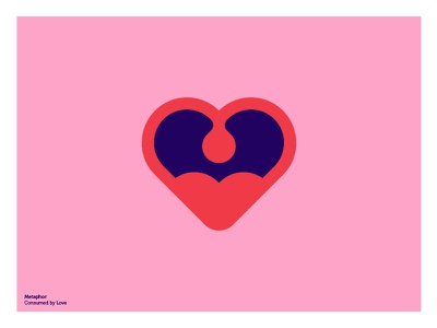 Consumed by Love tongue eat consume metaphor flat illustration icon mouth heart