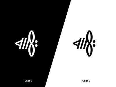 Code B Logo typographic insect symbol bee minimal logo typography code