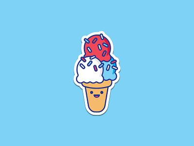 Ice Cream Sticker ice cream cute dessert america sprinkles smile cartoon flat vector sticker illustration