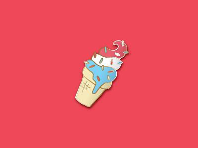 Ice Cream Enamel Pin hand made ice cream cute dessert america sprinkles drawing flat vector gold pin illustration