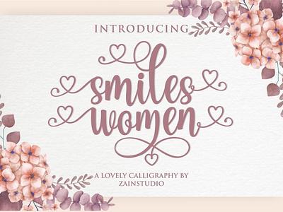 Smiles Women Script Font art typeset calligraphic typeface vintage graphic letter style modern handwritten design abc type font lettering text script typography alphabet calligraphy