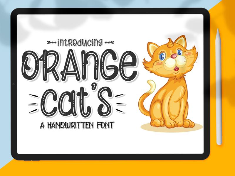 Orange Cat's Display Font paint creative graffiti style graphic symbol black letter hand ink brush text type design set marker alphabet font vector abc
