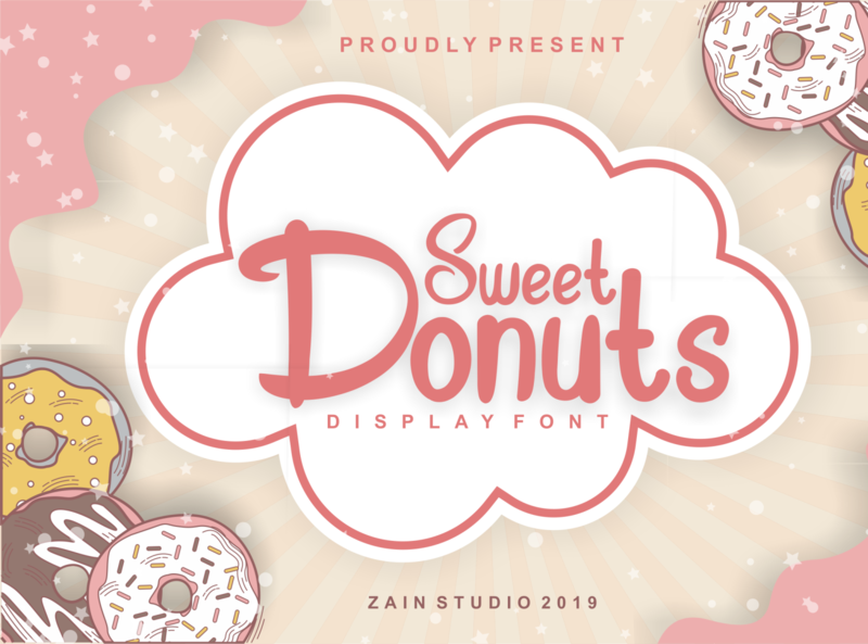 Sweet Donuts Display Font playful doodle baby poster sweet children childish drawing typeface modern school education comic kid colorful funny art cartoon typography alphabet