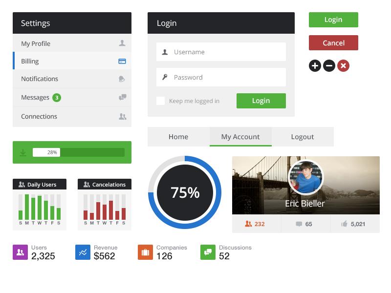 Flat UI Kit loading icon button ui navigation light menu interface player graph white like clean metro login diagram profile pie circle revenue metrics loading bar progress bar flat