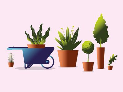 New plants. Garden season. illustration art garden plants color illustration vector