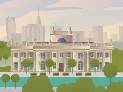 Palace on Isle palace town graphic artkolektyw artwork oldbuilding architecture vector illustration