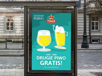 Giovanni Piwa beer branding color poster illustration