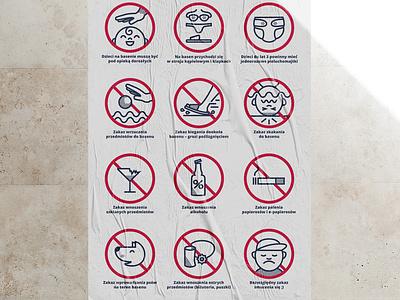 Akacjowa Pool Rules poster branding illustration vector
