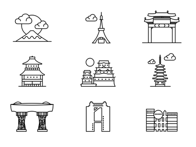 Famous landmarks of Japan vector design identity sketch