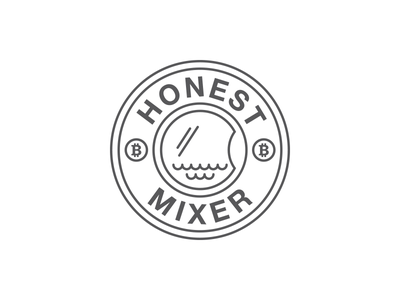 Honest Mixer washing laundry btc bitcoin mixer monochrome flat illustration branding logo