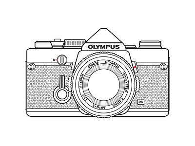 Olympus OM-1 line vector photo photography analog vintage retro leica film camera 35mm