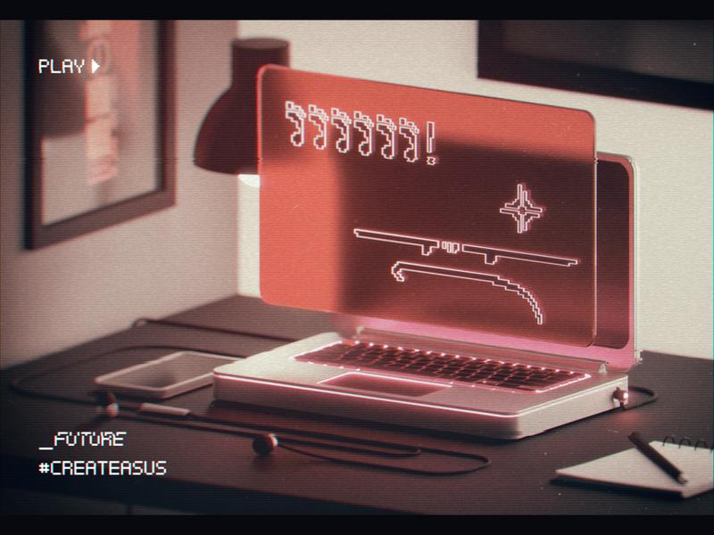 _FUTURE robot desk cgi texture retro oldschool vhs glitch analog ai asus future illustration 3dsmax maya render cinema4d c4d 80s 3d