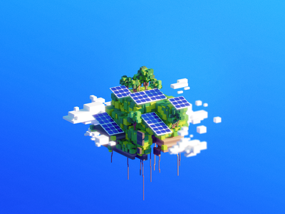 🌍 WORLD 20–50: Solarpower world vhs retro render platform oldschool midday maya mario landscape illustration eco cityscape cinema4d c4d bros blender 90s 3dsmax 3d