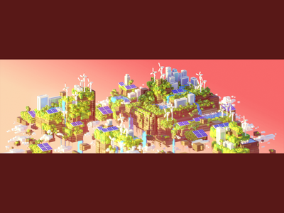 🌍 WORLD 20–50 (Alternative color scheme) world vhs sunset retro render platform oldschool maya mario landscape illustration eco cityscape cinema4d c4d bros blender 90s 3dsmax 3d