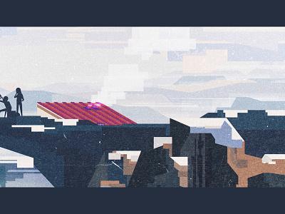 Our K2 ⛰️ (detail #3) illustration illustrator geometric vector flat design digital retro vintage oldschool minimal landscape cold winter snow k2 could colors vhs