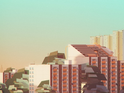 🏬 Perfect workplace: For design (No.02) illustrator illustration geometric flat design digital retro vintage oldschool minimal landscape cityscape warm summer evening colors vhs 3d sunset texture