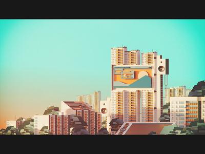 🏬 Perfect workplace: For design (Full) illustrator illustration geometric flat design digital vintage retro oldschool minimal landscape cityscape warm summer evening 3d colors vhs sunset texture