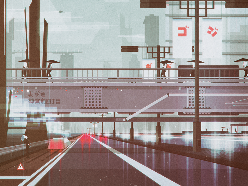 Heading to work (01) traffic sf scifi futuristic car cold cityscape oldschool colors minimal vintage retro landscape illustrator geometric digital flat vector design illustration