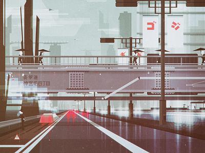 Heading to work (01) traffic sf scifi futuristic car cold cityscape oldschool colors minimal vintage retro landscape illustrator geometric digital flat vector design illustration