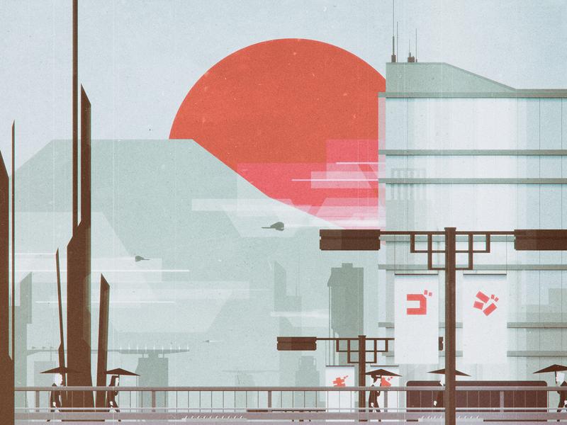 Heading to work (02) illustration design vector flat digital geometric illustrator landscape retro vintage minimal colors oldschool cityscape cold car futuristic scifi sf traffic