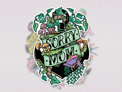 The Green One - Sorry Mom Stickers contemporaryillustration contemporary artwork draw vector art psychedelic mushrooms plants tattoo sticker pack sticker design sticker illustration art graphicdesign design drawing digitalillustration illustrator illustration
