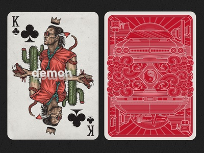 K of Clubs poster portrait demon snake cactus desert playingcardsdesign playingcards pokerdeck carddeck cards oldschoolillustration oldschool illustration art graphicdesign design drawing illustrator digitalillustration illustration