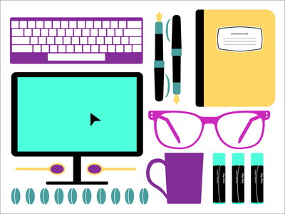 Things on my desk design graphic design illustration adobe illustrator composition layout vector design