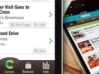 Cause.It iPhone App green brown ui iphone app ios texture location time offer cause nonprofit volunteer