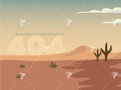 404 Page Not Found Design Illustration sand desert illustration desert 404 page ui design illustration