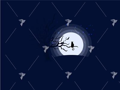 Cat Silhouette Under Moonlight Illustration scene pet night tree moonlit moonlight silhouette illustrator illustration cat