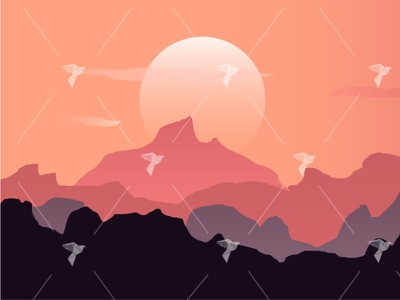 Sunset View From The Mountains illustrator illustration scene view sun mountains sunset