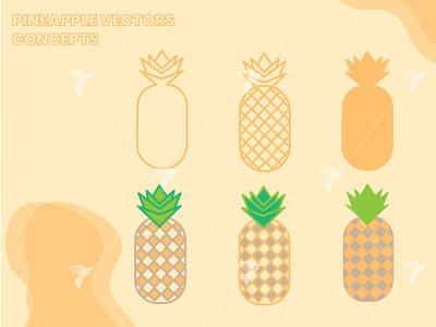 Pineapples Vectors Design fruit illustrator vectors vector flat design flat pineapples pineapple