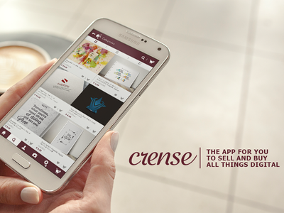 Crense, the app for the creatives and art lovers typography logo design posters decals wall art branding music photography ebooks app art