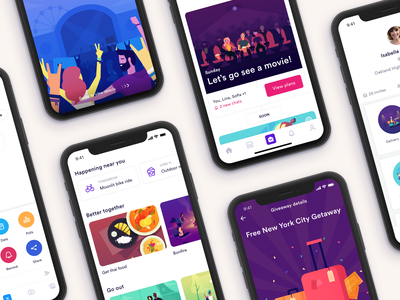 IRL App for teens giveaway feed invite travel chat profile illustration product ux ui