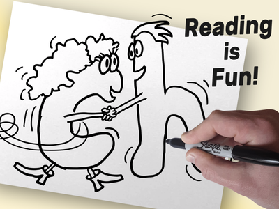 Learning to Read kids art video editing characters drawing illustration edutainment educational reading children kids teaching