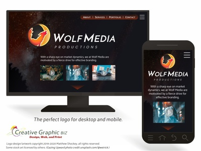 Wolf and Moon Logo - All Internet Devices web design wolf logo moon logo icon app icon logo advertising marketing logo design corporate id concept art branding graphic design
