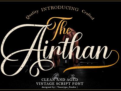 Airthan Script Font logotype vintage script font vintage font branding logo