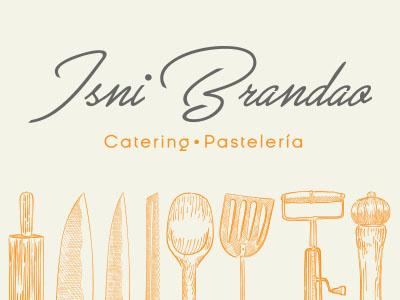 Logo Isni Brandao Catering & Dessert illustration typography logo design branding