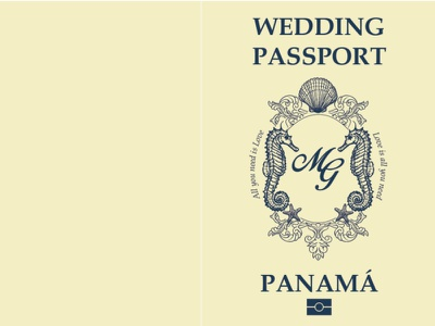 Passport wedding invitacion minimal illustration design