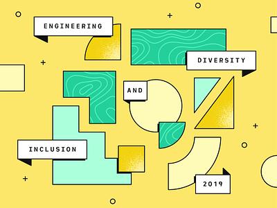 Plaid Blog Header: Engineering D&I 2019 header illustration fintech blog news finance design plaid