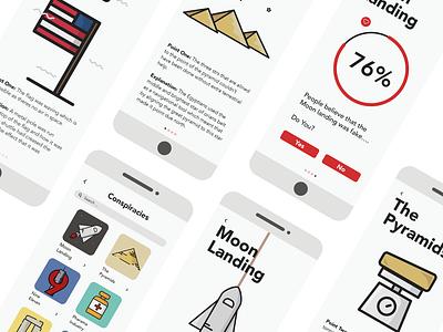 Conspiracy theory Based ui flat website typography web ux ui minimal illustration design app