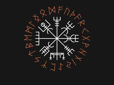 Norse Compass And Runes icon vector illustrator minimal compass runes norse mythology logo typography illustration flat design