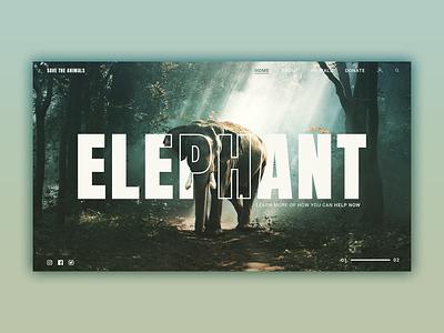 Save the elephants web landing page website landing page design graphic animal photo brand app web ux ui