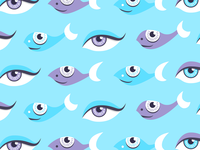 Pattern of fish and eyes