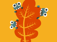 Bugs eat autumn leaf