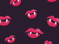 Pattern of vampire mouths with fangs