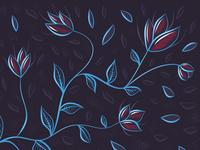 Glowing blue flowers