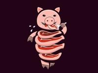 Self eating pig
