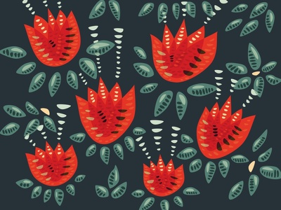 Abstract red tulips pattern decorative nature illustration botanical geometric floral pattern vector flowers tulips tulip floral pattern